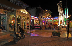 Faliraki night life and restaurant. Rhodes island, Greece Royalty Free Stock Image
