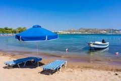 Faliraki strand Rhodes Arkivfoton