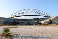 Faliro Olympic Beach Volleyball Centre - Faliro Coastal Zone Olympic Complex. 14 years after summer Olympic games of Athens 2004. Athens - Greece organized royalty free stock image