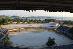 Faliro Olympic Beach Volleyball Centre - Faliro Coastal Zone Olympic Complex. 14 years after summer Olympic games of Athens 2004. Athens - Greece organized royalty free stock photo
