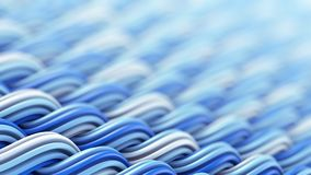 Falista powierzchnia biali i błękitni curles ornamentuje abstrakcjonistycznego 3D rende Fotografia Stock