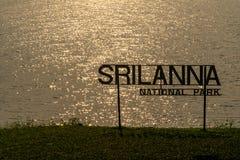 Falista wody powierzchnia z błyskotliwym słońca światłem w ranku z sylwetką Srilanna parka narodowego znak zdjęcie stock