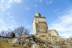 Falkenstein城堡的废墟在Koenigstein 库存图片
