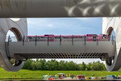 Launch in Falkirk Wheel, rotating boat lift in Scotland, Royalty Free Stock Photography