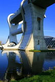 The falkirk wheel. A back view of the rotating boat lift Stock Photo