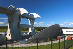 Falkirk Wheel. The Falkirk Wheel, The worlds only rotational wheel for joining canals Royalty Free Stock Photography