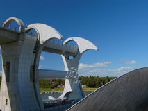 The Falkirk Wheel. A rotational lift for canal barges/boats linking them from one canal to the other Stock Photo