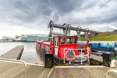 Falkirk Wheel with barges in foreground Stock Image