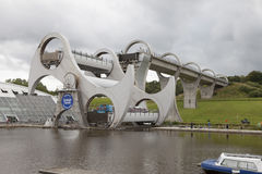 Falkirk Wheel. Futuristic boat lift Falkirk Wheel in Scotland Stock Images