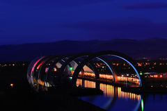 Falkirk Wheel. View of the aqueduct and top of the  Falkirk Wheel at night showing outline of the Ochil Hills in background Royalty Free Stock Image