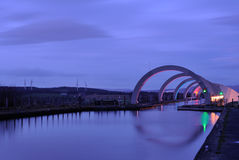 Falkirk Wheel. View of aqueduct and top of Falkirk Wheel, Scotland at dusk Royalty Free Stock Photo