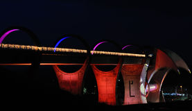 Falkirk Wheel. View of the Falkirk Wheel, Scotland at night. Boat lift at end is in process of rotating Stock Photo