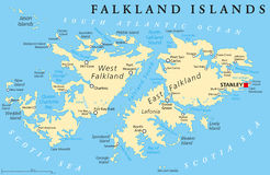 Falkland Island Political Map Lizenzfreie Stockfotos