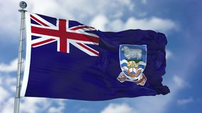 Falkland Islands Flag in a Blue Sky. Use this clip loud and proud to express loyalty and love to our country. It is a seamless loop with luma channel Royalty Free Stock Images