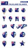 Falkland Islands Flag Collection Sistema grande para el diseño ilustración del vector