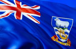 Falkland islands flag. 3D Waving flag design. The national symbol of Falkland islands, 3D rendering. National colors and National royalty free stock photo