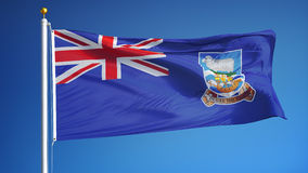 Falkland Islands flag in slow motion seamlessly looped with alpha. Falkland Islands flag waving in slow motion against blue sky, seamlessly looped, close up stock video