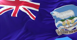Falkland Islands flag waving at wind with blue sky, loop. Flag of the Falkland Islands waving at wind with blue sky in slow, loop stock video footage