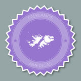 Falkland Islands Malvinas badge flat design. Round flat style sticker of trendy colors with country map and name. Country badge vector illustration Royalty Free Stock Image