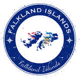 Falkland Islands Malvinas circular patriotic. Falkland Islands Malvinas circular patriotic badge. Grunge rubber stamp with national flag, map and the Falkland Stock Images