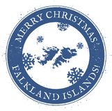 Falkland Islands Malvinas map. Vintage Merry Christmas Falkland Islands Malvinas Stamp. Stylised rubber stamp with county map and Merry Christmas text, vector Stock Photo