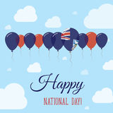 Falkland Islands Malvinas National Day Flat. Falkland Islands Malvinas National Day Flat Patriotic Poster. Row of Balloons in Colors of the Falkland Islander Stock Photo