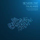 Falkland Islands Malvinas network map. Abstract polygonal map design. Internet connections vector illustration Stock Photos