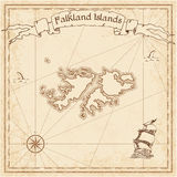 Falkland Islands Malvinas old treasure map. Sepia engraved template of pirate map. Stylized pirate map on vintage paper Royalty Free Stock Photos