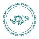 Falkland Islands Malvinas vector map. Retro vintage insignia with country map. Distressed visa stamp with Falkland Islands Malvinas text wrapped around a Royalty Free Stock Photos