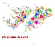 Falkland Islands Map - mosaico de los triángulos del color ilustración del vector