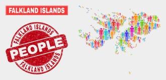 Falkland Islands Map Population Demographics e selo Textured ilustração do vetor