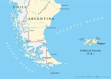 Falkland Islands Policikal Map Royalty-vrije Stock Foto