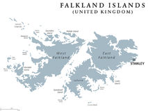 Falkland Islands political map. With capital Stanley. British overseas territory. Archipelago in South Atlantic Ocean on Patagonian Shelf. Gray illustration Stock Image