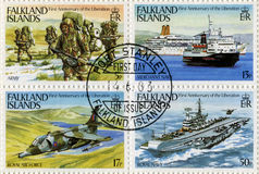 Falkland Islands Postage Stamps. FALKLAND ISLANDS - CIRCA 1983 - Postage Stamps commemorating the first anniversary of the Liberation of the Falkland Islands Royalty Free Stock Photo