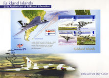 Falkland Islands Postage Stamps - 1st day cover. Commemorative postage stamps of the 25th Anniversary of Falklands Liberation - 1st day cover Stock Photography