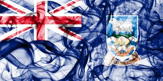 Falkland Islands smoke flag, British Overseas Territories, Britain dependent territory flag.  Royalty Free Stock Photography