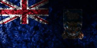 Falkland Islands grunge flag on old dirty wall, British Overseas Territories, Britain dependent territory flag. Falkland Islands smoke flag, British Overseas stock illustration