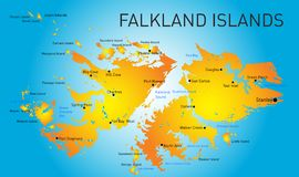 Falkland islands. Vector color map of Falkland islands Royalty Free Stock Images