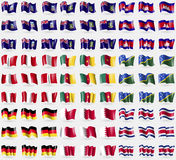 Falkland Islands, VirginIslandsUK, Cambodia, Peru, Cameroon, Solomon Islands, Germany, Bahrain, Costa Rica. Big set of 81 flags. Stock Photos