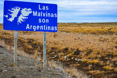 The Falklands are Argentine. A roadside sign in Tierra del Fuego declaring that the Falklands Islands are Argentine Stock Photo