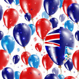 Falklands Independence Day Seamless Pattern. Flying Rubber Balloons in Colors of the Falkland Islander Flag. Happy Falklands Day Patriotic Card with Balloons Royalty Free Stock Photography