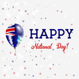 Falklands National Day patriotic poster. Flying Rubber Balloon in Colors of the Falkland Islander Flag. Falklands National Day background with Balloon Royalty Free Stock Images