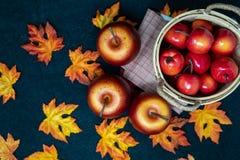Falläpfel in einem Korb arragment in einer Herbstszene lizenzfreie stockbilder