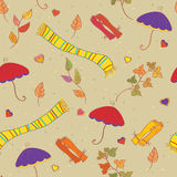 Fall accessories funny  seamless pattern Royalty Free Stock Image
