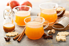 Fall apple cider with warm spices. Cinnamon and nutmeg Stock Photo