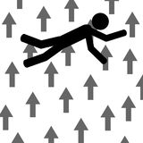 Fall between arrows. A man is falling with arrows near him. It is a stick figure vector. EPS10 Stock Photography