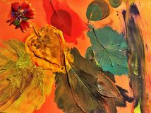 Fall art. Painted fall leaves Royalty Free Stock Photography