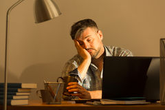 Fall asleep while working Royalty Free Stock Images