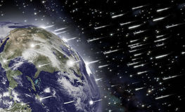 Fall of asteroids. An impressive falling of asteroids hits the earth and causes the end of mankind royalty free illustration