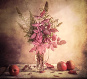 Fall Autumn autumnal bouquet Still Life apples sprigs Stock Photo